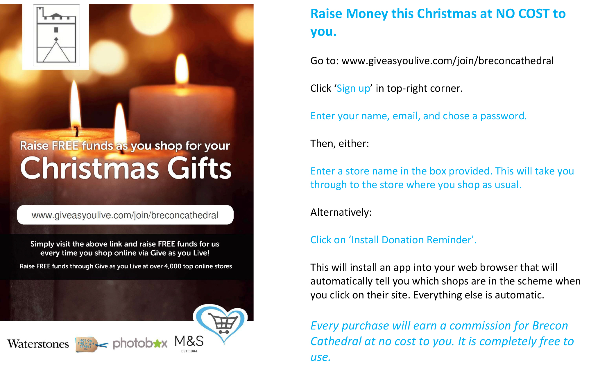 Raise money this Christmas for Brecon Cathedral with no cost to you ...